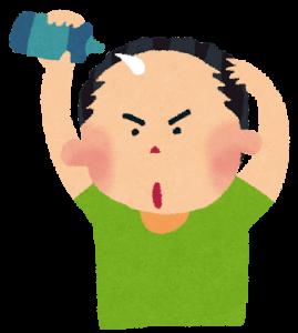 育毛剤を使う人のイラスト