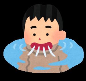 プールの水を飲む人のイラスト