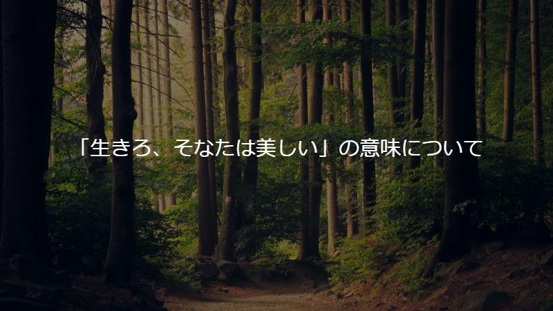 もののけ姫の「生きろ、そなたは美しい」の意味について